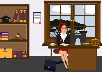 Woman lawyer at her work desk. Beautiful young girl sitting at the table, working with pc. Cartoon cute design. Businesswoman flat style. Colorful vector illustration.