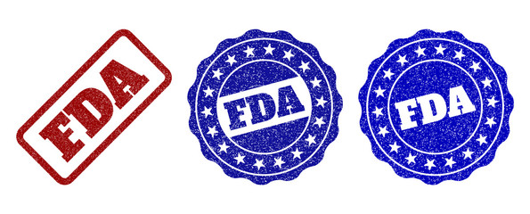 FDA grunge stamp seals in red and blue colors. Vector FDA watermarks with grunge style. Graphic elements are rounded rectangles, rosettes, circles and text labels.
