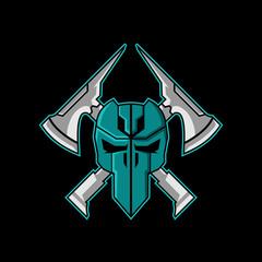 Tactical Axes Survival Urban Skull logo design Template