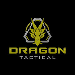 Dragon Head military tactical logo design illustration Template