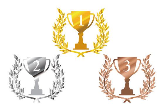 金銀銅の月桂樹・ローレルつきトロフィーのイラストセット:1位~3位のトロフィー Trophy illustration