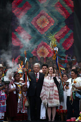 Mexico's President Andres Manuel Lopez Obrador at AMLO Fest at Zocalo square in Mexico City