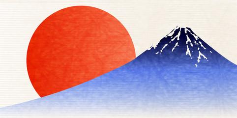 富士山 和紙 年賀状 背景