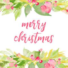 Watercolor Christmas Background with Holly Berries and Leaves