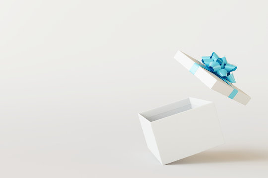 Open gift box on white background. 3d rendering