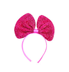 Decoration pink headband with colorful big bow fabric isolated on white background , clipping path