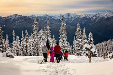 family enjoying the frozen and snowy olympic mountains in washington state