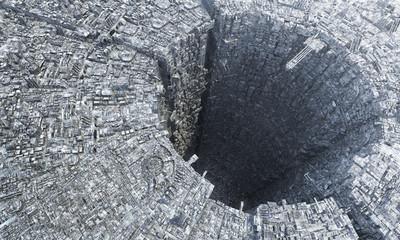 3D rendering futuristic sci-fi mega city down under metropolis architecture depiction of future city life