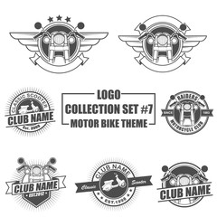Icon, badge, emblem and logo template design with motor bike theme
