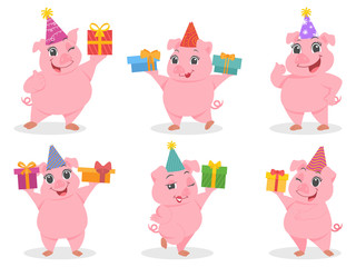 Set of cute fat pink pigs cartoon character for Happy New Year 2019 Holiday. Happy Cheerful and Funny pigs posing in different situations flat vector illustrator.
