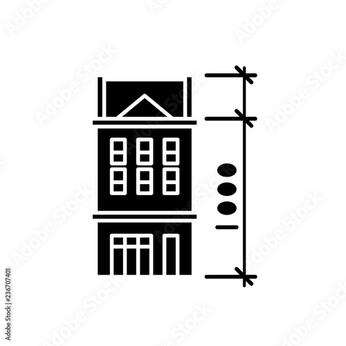 house characteristics black icon concept vector sign on isolated