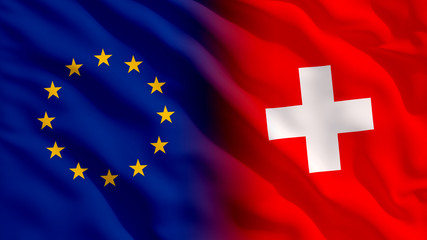 Waving EU and Switzerland Flags