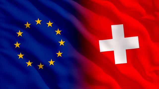 Waving EU and Switzerland Flags