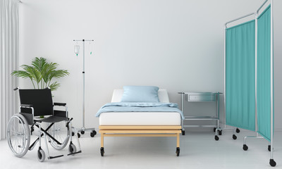 Hospital room with bed and table, 3D rendering