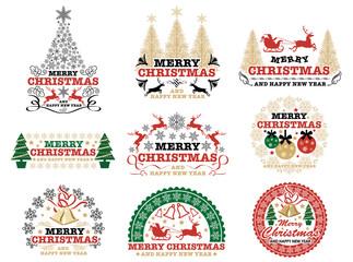 クリスマスのエンブレム/シンボルマークのセット