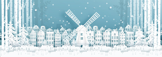 Fototapete - Panorama postcard and travel poster of world famous landmarks of Amsterdam, The Netherlands in winter season in paper cut style vector illustration
