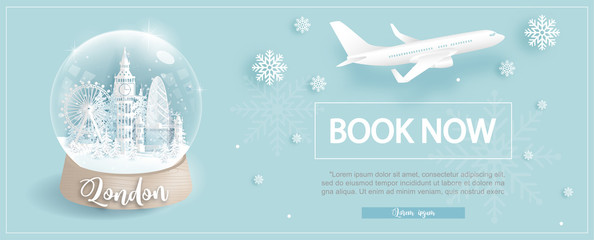 Fototapete - Flight and ticket advertising template with travel to London, England in winter season with famous landmarks in paper cut style vector illustration