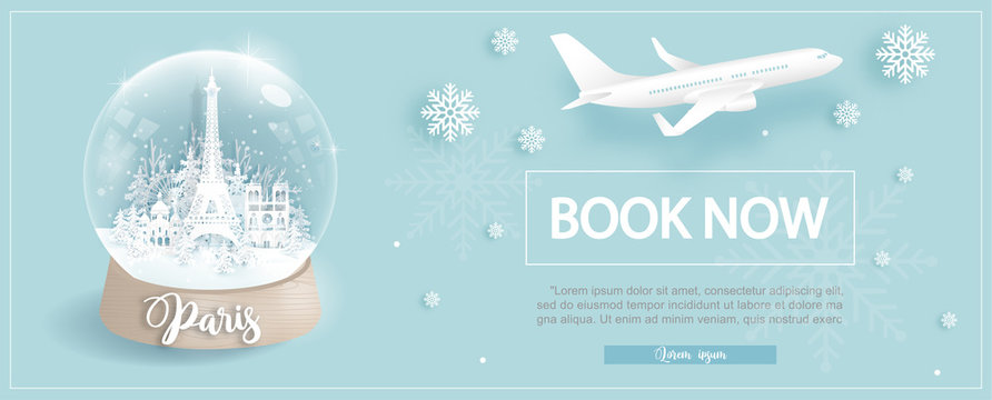 Flight and ticket advertising template with travel to Paris, France in winter season with famous landmarks in paper cut style vector illustration