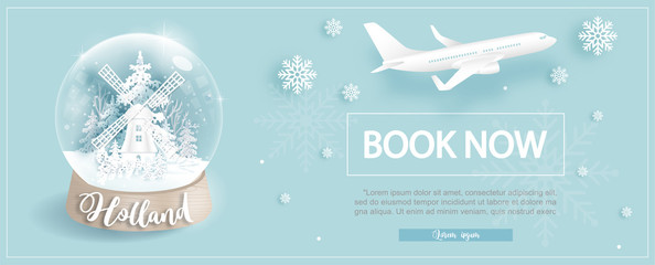 Fototapete - Flight and ticket advertising template with travel to Holland in Winter season with famous landmarks in paper cut style vector illustration