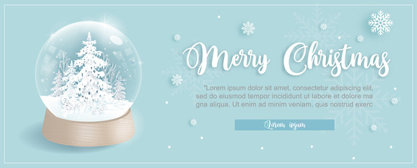 Wall Mural - Christmas card template with snow globe and Christmas tree in blue background and snow falling. Vector illustration.