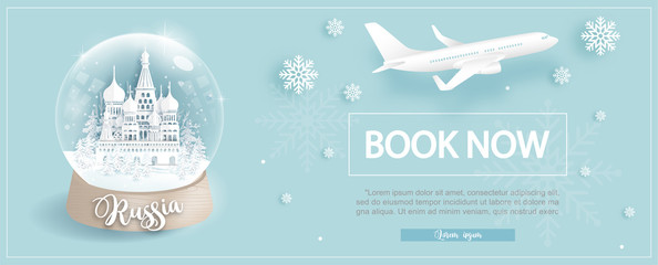 Fototapete - Flight and ticket advertising template with travel to Russia in winter season with famous landmarks in paper cut style vector illustration
