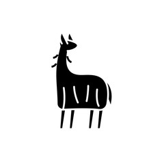 Lama black icon, concept vector sign on isolated background. Lama illustration, symbol