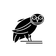 Owl black icon, concept vector sign on isolated background. Owl illustration, symbol