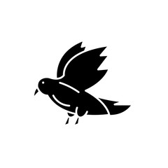 Dove black icon, concept vector sign on isolated background. Dove illustration, symbol