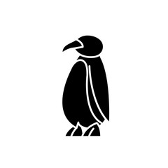 Cartoon penguin black icon, concept vector sign on isolated background. Cartoon penguin illustration, symbol