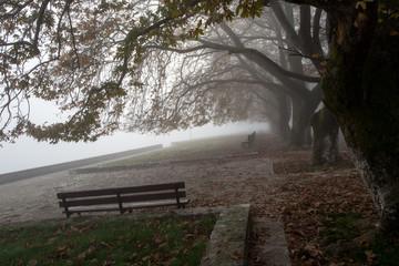 fog foggy wheather in Ioannina city greece