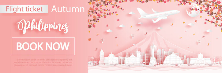 Fototapete - Flight and ticket advertising template with travel to Philippines in autumn season with falling maple leaves and famous landmarks in paper cut style vector illustration