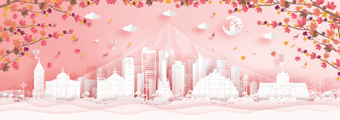 Fototapete - Autumn in Philippines with falling maple leaves in paper cut style vector illustration