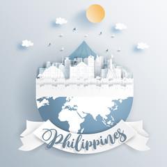 Fototapete - Philippines landmarks on earth in paper cut style vector illustration.