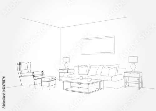 Linear Sketch Of An Interior Living Room Plan Sketch Line Sofa Set