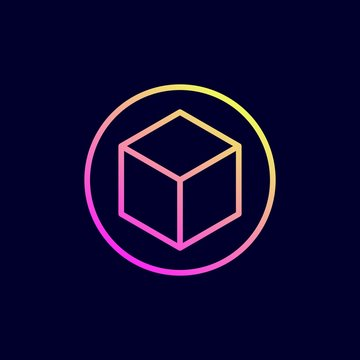 Cube 3D icon. Vector illustration in flat line style.