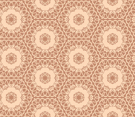 Seamless hexagonal pattern from circular abstract floral ornaments in pastel beige color on a tan background. Vector illustration. Suitable for fabric, wallpaper and wrapping paper