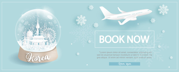 Fototapete - Flight and ticket advertising template with travel to South Korea in Winter season with famous landmarks in paper cut style vector illustration
