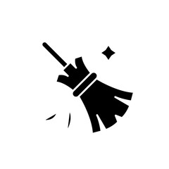 Broom black icon, concept vector sign on isolated background. Broom illustration, symbol