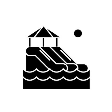 Waterslides black icon, concept vector sign on isolated background. Waterslides illustration, symbol