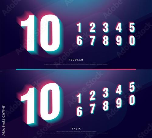 Glitched numbers alphabet font design  Number headline