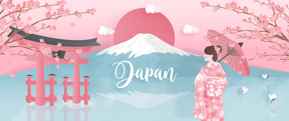 Panorama of travel postcard, poster, tour advertising of world famous landmarks of Japan with Fuji mountain and woman in kimono dress in paper cut style. Vector illustration.