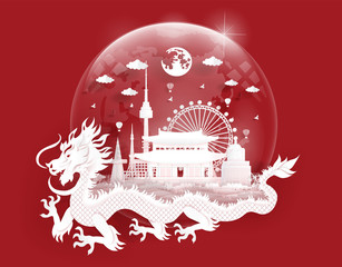 Fototapete - South Korea landmarks with dragon in a glassball of world map in paper cut style vector illustration. Travel poster, post card and tour company.