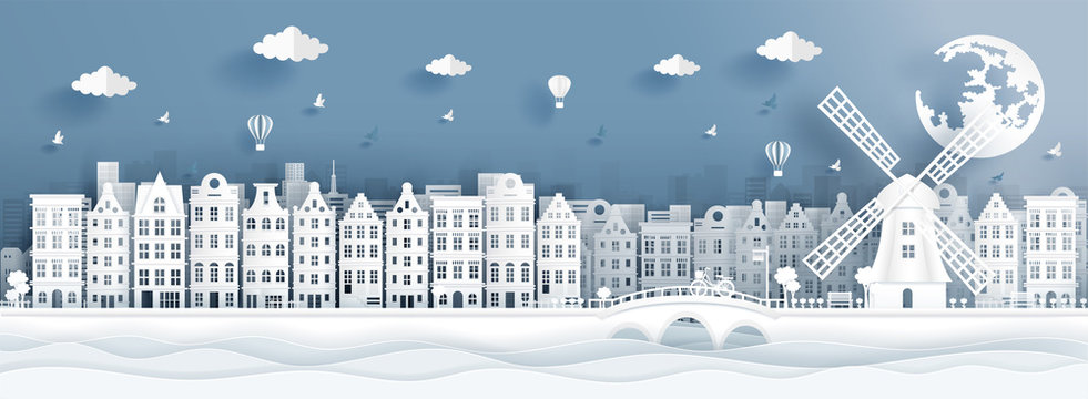 Panorama postcard of world famous landmarks of Amsterdam, The Netherlands in paper cut style vector illustration