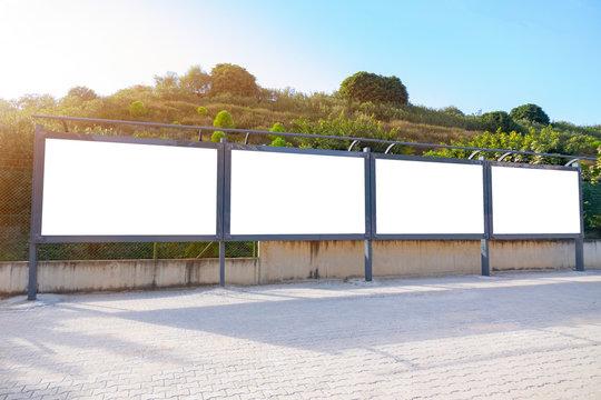Four blank frame billboard mockup