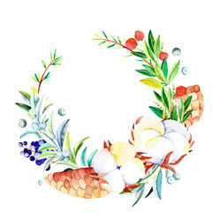Watercolor winter wreath. Handpainted  watercolor wreath with cotton, branches, berries and fir cones. Perfect for you postcard design, wallpaper, happy new year print, invitations, packaging etc.