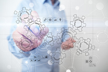 Virtual interface with mechanical gears. Automation and technology for Recruitment and HR concept.