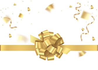 Decorative gold bow with horizontal ribbon and gold sepentine, confetti isolated on white. Holiday background. Vector illustration
