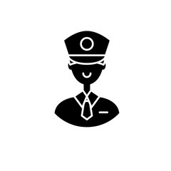 Policeman black icon, concept vector sign on isolated background. Policeman illustration, symbol