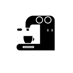 Coffee machine in bar black icon, concept vector sign on isolated background. Coffee machine in bar illustration, symbol