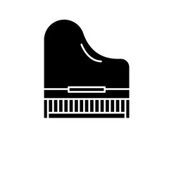 Piano black icon, concept vector sign on isolated background. Piano illustration, symbol